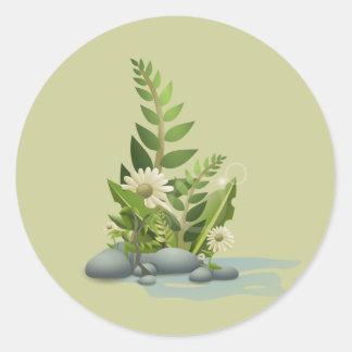 växter runt klistermärke