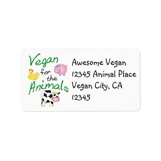 Veganadressetikett med djur adressetikett