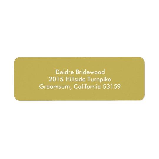 Vegas guld- samtida fast färg returadress etikett