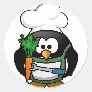 Vegetarisk pingvinkock - Veggiekock Runt Klistermärke