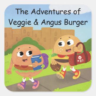 Veggie & Angus klistermärkear Fyrkantigt Klistermärke