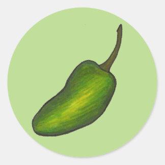Veggie för Jalapenos för grönt för hett för Runt Klistermärke