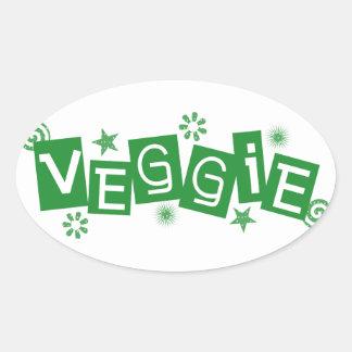 Veggie för vegetarian- och Vegansklistermärkear Ovalt Klistermärke