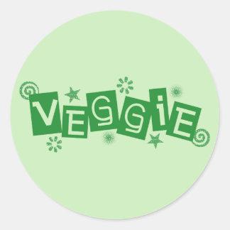 Veggie för vegetarian- och Vegansklistermärkear Runt Klistermärke