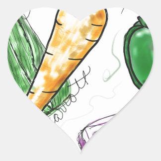 Veggies Hjärtformat Klistermärke