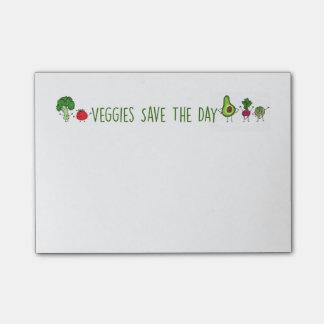 Veggies sparar dagen som Posta-Det noterar Post-it Lappar