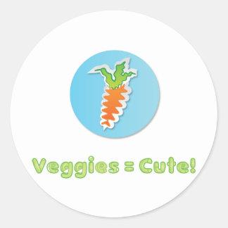 veggies-vara-gulligt runt klistermärke