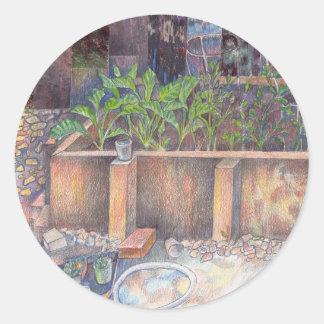 Veggieträdgård Runt Klistermärke