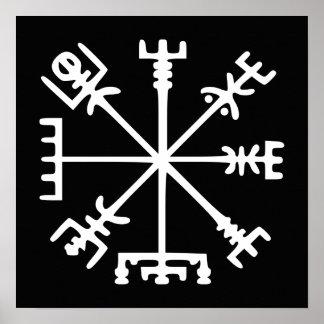 Vegvísir (Viking kompass) Affisch