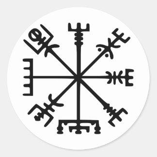 Vegvísir (Viking kompass) Runt Klistermärke