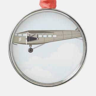 Vektor för vintageflygplanillustration julgransprydnad metall