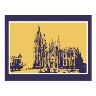 Vektor som drar den Cologne domkyrkan (Kölner Dom) Vykort