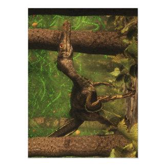Velociraptordinosaur i skogen 14 x 19,5 cm inbjudningskort