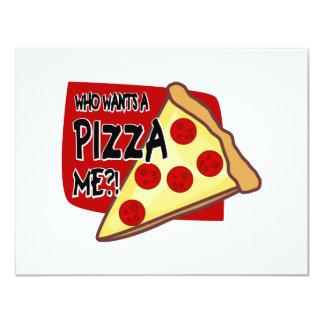Vem önskar en Pizza mig?! 10,8 X 14 Cm Inbjudningskort