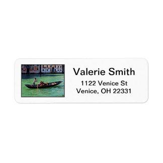 Venedig Gandola & kanal med kärlekcitationstecken Returadress Etikett