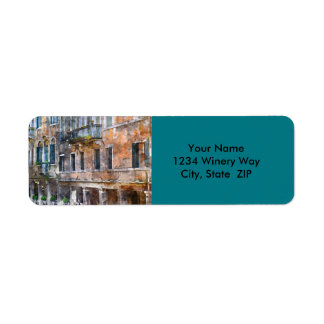 Venedig italienbyggnader returadress etikett