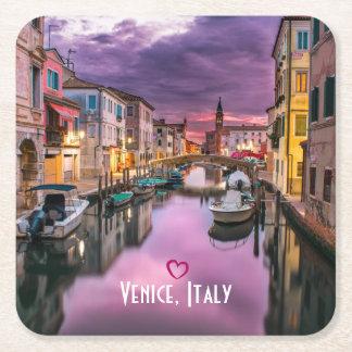 Venedig, scenisk kanal för italien & Venetian Underlägg Papper Kvadrat
