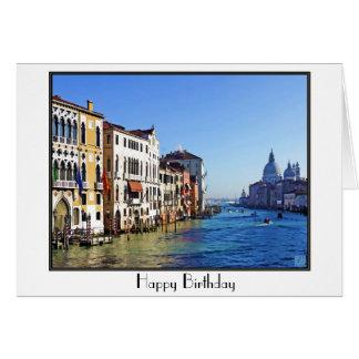 Venedig storslagen kanal med kärlekcitationstecken hälsningskort