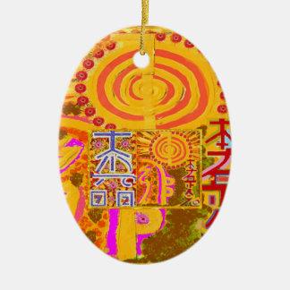 ver 2013. REIKI som läker LEDAR- symboler Julgransprydnad Keramik