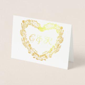 Verklig guld- metall omkullkastar blom- folierat kort