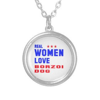 Verklig hund för kvinnakärlekBorzoi Halsband Med Rund Hängsmycke