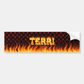 Verkliga Terri avfyrar och flammar bildekaldesign Bildekal