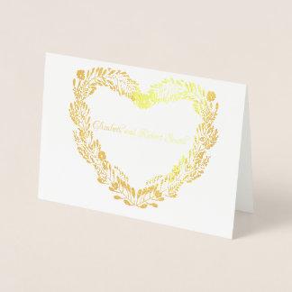 Verkligt guld omkullkastar hjärtakrangift par folierat kort