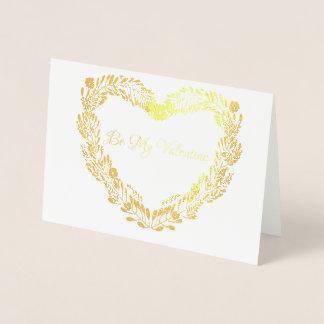 Verkligt guld omkullkastar valentinen för folierat kort