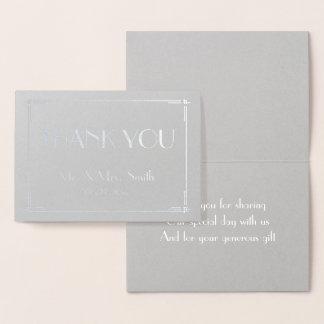 Verkligt silver omkullkastar kortet för tack för folierat kort