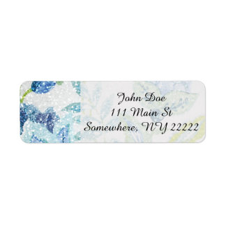 Verkställer den blom- tapestryen för blått med returadress etikett