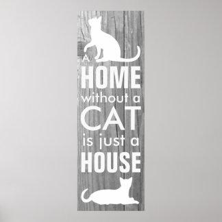 Verkställer grått trä för hemmet och för katten poster
