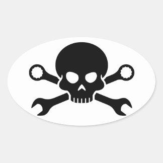"""Verktyg för skalle """"n"""" - skruva pirat 1 (svarten) ovalt klistermärke"""
