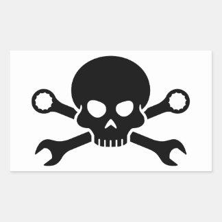 """Verktyg för skalle """"n"""" - skruva pirat 1 (svarten) rektangulärt klistermärke"""
