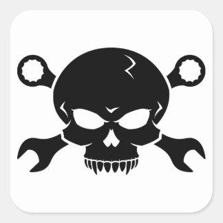 """Verktyg för skalle """"n"""" - skruva pirat 2 (svarten) fyrkantigt klistermärke"""