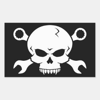 """Verktyg för skalle """"n"""" - skruva pirat 2 (vit) rektangulärt klistermärke"""