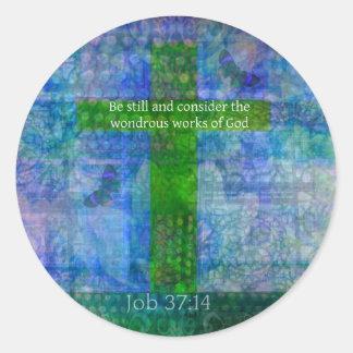 Verse för bibel för jobb37:14 härlig runt klistermärke