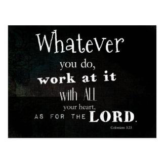 Verse för Colossians 3:23bibel, Scripturekonst Vykort