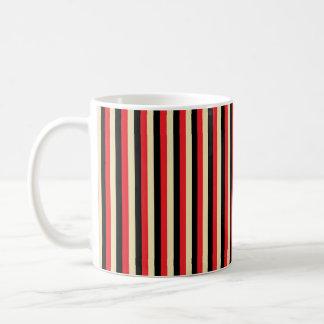 Vertikala rött, beige och svartrandar vit mugg