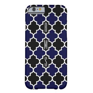 Vertikalt marinblått och svart fodral för Monogram Barely There iPhone 6 Fodral