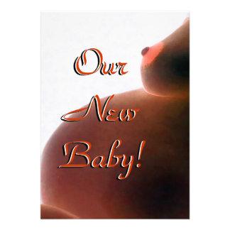 Vertikalt meddelandekort för nyfödd bebis kort för inbjudningar