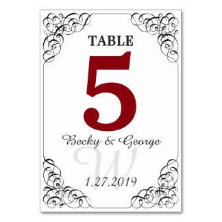 Vertikalt röd och vitbordkort bordsnummer
