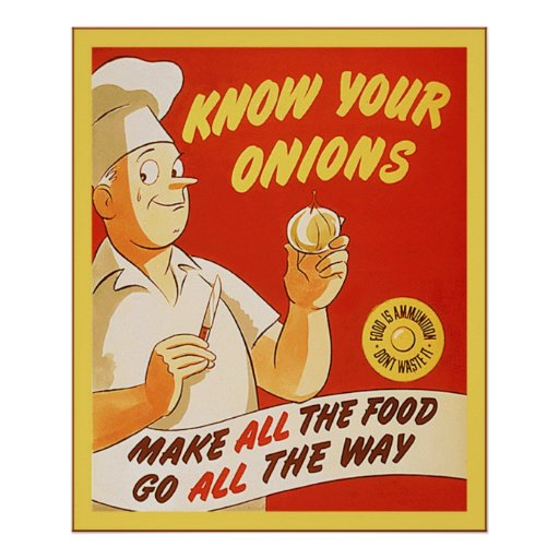 Vet din affisch för U.S. WW2 för lök~-vintage