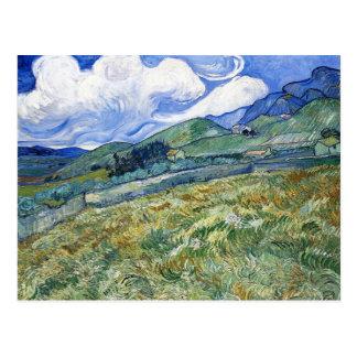 Vetefält med berg av Vincent Van Gogh Vykort