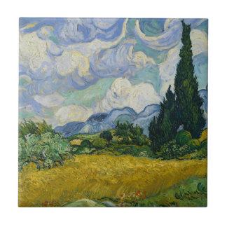 Vetefält med Cypresses av Vincent Van Gogh Kakelplatta