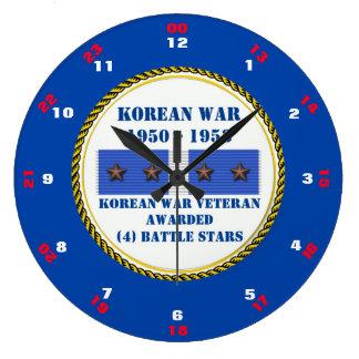 VETERAN FÖR KRIG FÖR 4 STRIDSTJÄRNOR KOREANSK STOR RUND KLOCKA