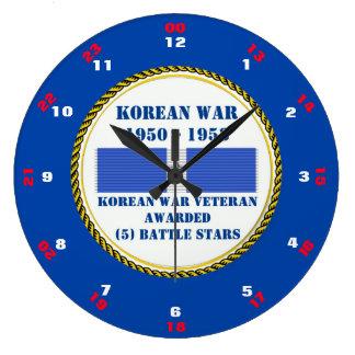 VETERAN FÖR KRIG FÖR 5 STRIDSTJÄRNOR KOREANSK STOR RUND KLOCKA