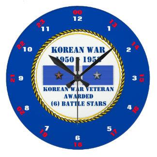 VETERAN FÖR KRIG FÖR 6 STRIDSTJÄRNOR KOREANSK STOR RUND KLOCKA