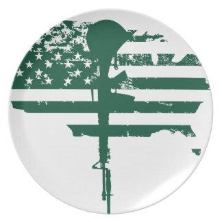 veteran för USA flaggavapengrönt Tallrik