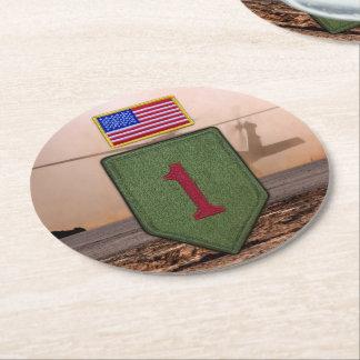 vets stora röda veteran 1 för det 1st infanterit underlägg papper rund
