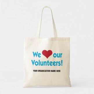 Vi älskar våra volontärer med hjärtasymbol tygkasse